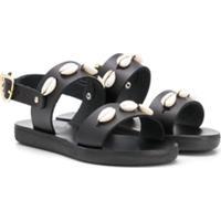Ancient Greek Sandals Sandália Little Clio Com Aplicação De Conchas Do Mar - Preto