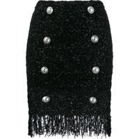 Balmain Fringed Tweed Skirt - Preto