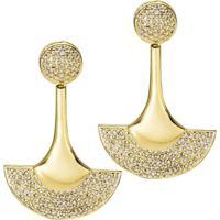 Brinco Meia Lua E Circulo Cravejado De Zirconias - Feminino-Dourado