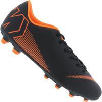 Chuteira De Campo Nike Mercurial Vapor 12 Club Mg - Adulto - Preto/Laranja Esc
