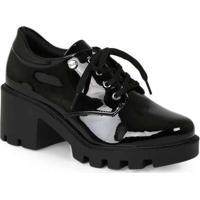 Sapato Oxford Feminino Quiz Verniz Preto