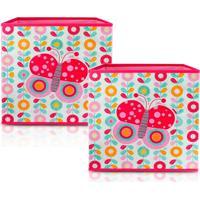 Kit 2 Caixa Organizadora De Brinquedos E Roupas Jacki Design Infantil Dobrável Rosa - Kanui