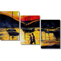 Quadropainel Decorativo Marina Ao Por Do Sol Amarelo Laranja