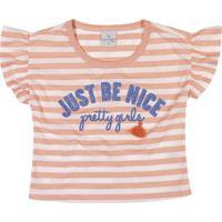 "Blusa Listrada ""Just Be Nice"" - Salmã£O & Branca- Leclecimar"