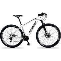 Bicicleta Xlt Aro 29 Freio A Disco Suspensão 21 Marchas Quadro 17 Alumínio Branco Preto - Ksw