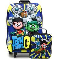 Kit 2 Pçs Max Toy Mochila De Rodinhas Teen Titans Go Azul/Verde