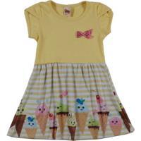Vestido Infantil Para Menina - Amarelo