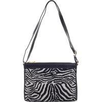 Bolsa Transversal Couro Com Jacquard Zebra Preto - 78014