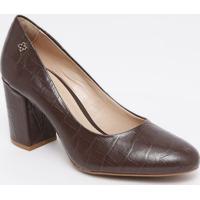 Sapato Tradicional Em Couro Com Tag - Marrom Escuro-Capodarte
