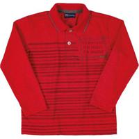 Camisa Polo Manga Longa Vermelho