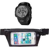 Kit Pochete Dagg Esportiva Fitness 5,5 E Relógio Dagg Digital Watch Gear Running Fit - Preto
