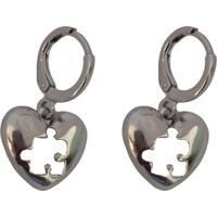 Brinco Narcizza Argolinha Coração Quebra-Cabeça - B520(2)