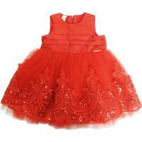 Vestido Infantil Gira Baby Kids Tule Bordado Vermelho