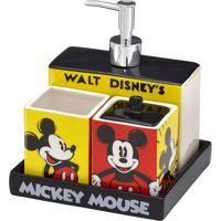 Jogo Para Banheiro Mickey®- Preto & Amarelo- 4Pçs