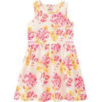 Vestido Floral Com Recortes- Rosa & Amarelo- Teen