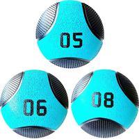 Kit 3 Medicine Ball Liveup Pro 5 6 E 8 Kg Bola De Peso Treino Funcional Lp8112