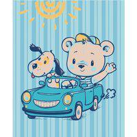 Cobertor Fleece Microfibra 90 Cm X 1,10 Cm Carrinho Azul Baby Joy