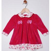 Vestido Plush Com Boina Infantil Para Bebê Menina - Rosa Pink