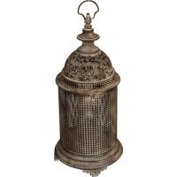 Lanterna Decorativa De Metal Envelhecido Tibet