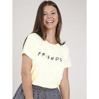 Blusa Feminina Friends Manga Curta Decote Redondo Amarela Claro