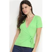 Blusa Colcci Transpassada Canelada Feminina - Feminino-Verde Claro