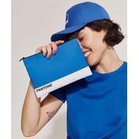 Nécessaire Pantone Retangular Básica Com Zíper Azul