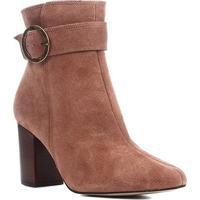 Bota Cano Curto Shoestock Salto Alto Argola Feminina - Feminino-Marrom