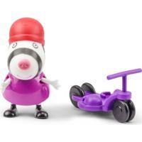 Figura Com Acessório - 10 Cm - Peppa Pig - Suzy Com Patinete - Dtc - Unissex-Incolor