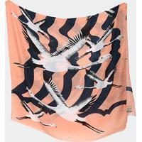 Lenço Pashmina Flamingo - Feminino-Rosa+Preto