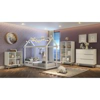 Dormitório Analu Cômoda 3 Gavetas, Guarda Roupa E Cama Analu Branco Fosco Carolina Baby