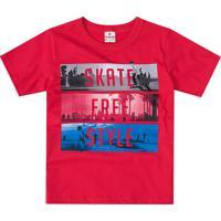 "Camiseta ""Skate Free Style""- Vermelho Escuro & Azul-Brandili"