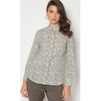 Camisa Com Botões - Off White & Azul Marinhodudalina