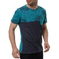 Camiseta Manga Curta Masculina Local Verde/Azul