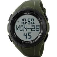 Relógio Skmei Digital Pedômetro Masculino - Masculino-Verde+Preto
