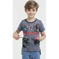 Camiseta Infantil Super Heróis Manga Curta Marvel