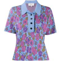 Ymc Camisa Polo De Tricô Floral - Azul