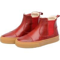 Bota Sneaker Infantil Couro Stepsgreen Resistente - Unissex-Vermelho