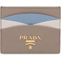Prada Colour Block Saffiano Card Holder - Cinza