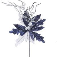 Flor Decoração Natal Cabo Curto 45X26Cm Azul