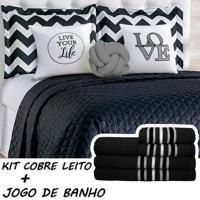 Kit Combo Cobre Leito C/ Jogo De Banho Isabela Preto/Cinza Casal 13 Peças