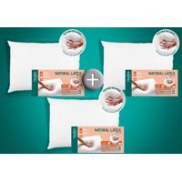 Kit 3 Travesseiros Natural Látex Alto 50 X 70 Cm Duoflex