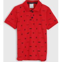 Camisa Polo Malwee Kids Infantil Estampada Vermelha - Vermelho - Menino - Algodã£O - Dafiti