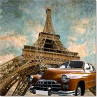 Quadro Impressão Digital Torre Eiffel Carro Marrom 45X45 Uniart