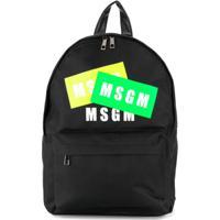 Msgm Kids Mochila Com Estampa E Logo - Preto