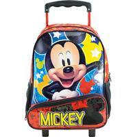 Mochila De Rodinha Infantil Xeryus Hey Mickey - Masculino-Vermelho