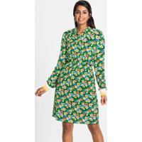 Vestido Chemise Com Punhos Floral Verde