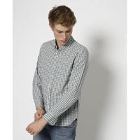 Camisa Quadriculada Com Bolso- Cinza & Azul Clarolevis