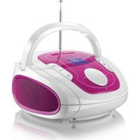 Caixa De Som Multilaser Boombox Bluetooth Som 5 Em 1 Rosa E Branca - Sp187