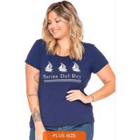 T-Shirt Feminina Com Estampa Marina Azul Marinho