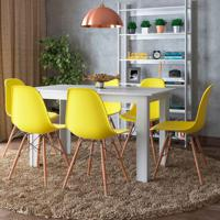 Conjunto De Mesa Cogma Com 6 Cadeiras Eames Base Madeira Branco E Amarelo